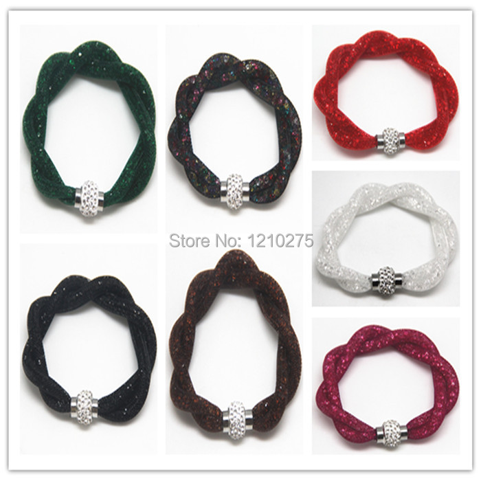 2015 time-limited Stardust Bracelets Mesh Chain Inside Full Crystal Fashion bangle Magnetic Wrap kinds color women Bracelet - YwEdison Chen's store