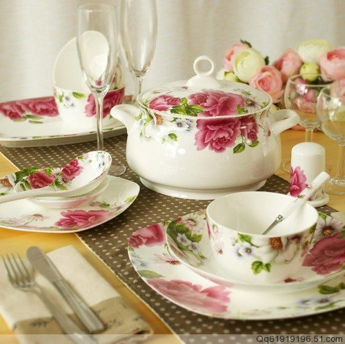 Ceramics 56 28 bone china dinnerware set square dishes microwave oven(China (Mainland))