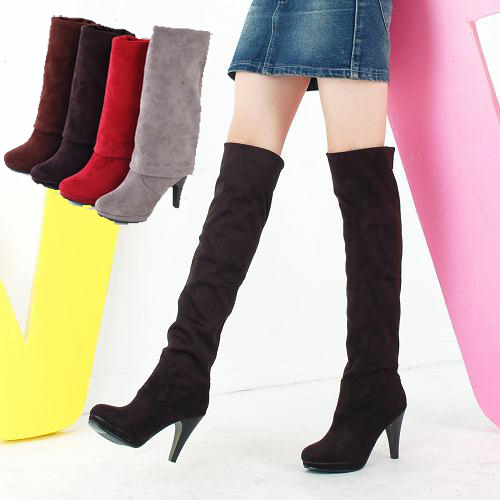Women boots 2014 autumn winter ladies fashion High heels bottom boots shoes over the knee high leg suede long boots Europe 36-43