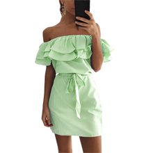 Buy Women Striped Dress Summer Sexy Cute Ruffles Slash Neck Mini Dress Vestidos Girls Bandage Striped Party Dresses Plus Size GV563 Limited) for $7.64 in AliExpress store