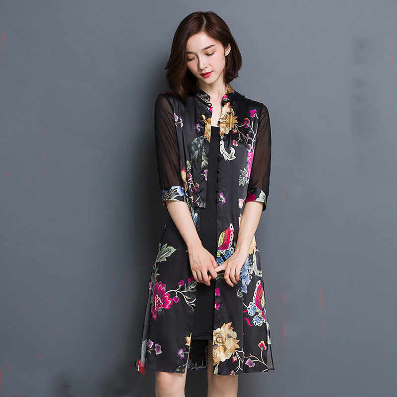2016 New Summer 2 Pcs Real Silk Jacket Slim Printing Classical Conditioning Women Dress(China (Mainland))