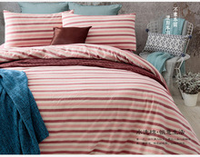 2016 New Dark Red Striped Cotton Duvet Quilt Cover Flitted Bed Sheet Pillow Case Bedding Set Bedspread Bedclothes Bed Linens
