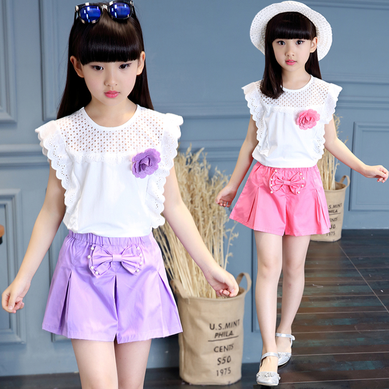 2017 new set T-shirt summer girls short sleeved children's casual clothing two sets