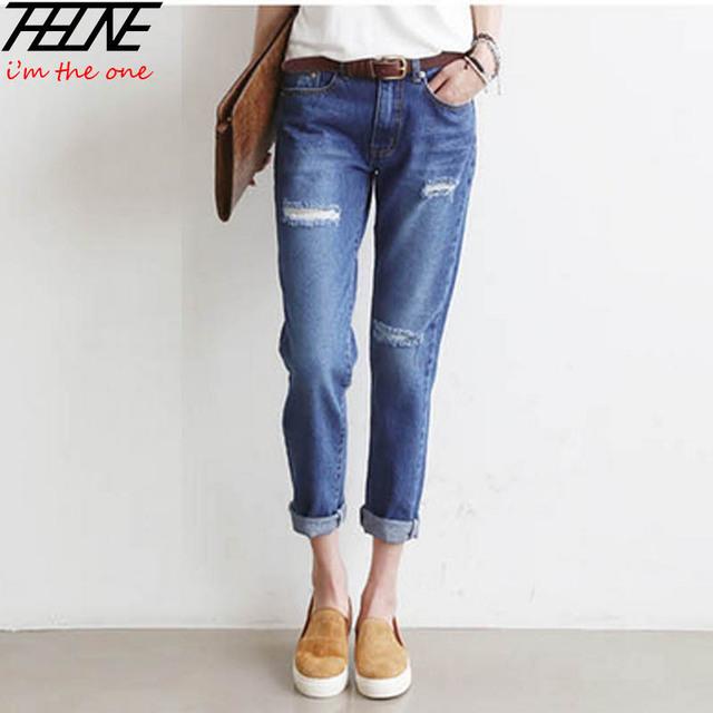 Новинка бойфренд джинсы женщин джинсовые брюки отверстия прямо в середине талии промывают ...