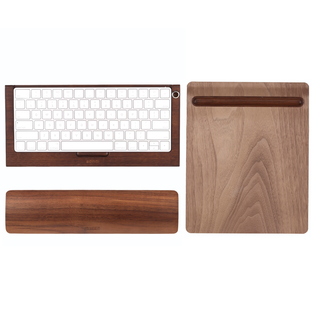 SAMDI Bamboo Wireless Magic Keyboard Stand Dock Holder + Soft Wooden Mouse Mat + Wooden Keyboard Wrist Rest Pad for Apple iMac(China (Mainland))