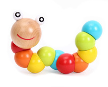 Wooden Wiggling Worm  Rainbow toy Twistable Colorful Rainbow Twist Caterpillar, Baby Finger Dexterity Training Toy(China (Mainland))