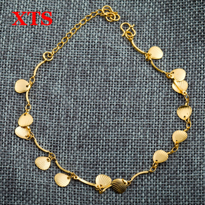 New Fashion women sexy 24K gold plated shell anklet classic yellow gold shell foot jewelry charm anklets designs for women(China (Mainland))