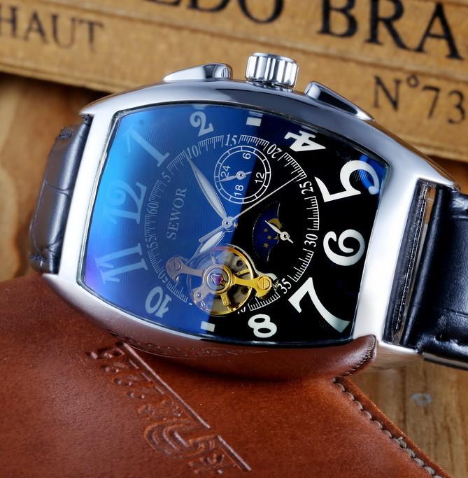 Hot! 2015 SEWOR Brand Clock Classic Leather Skeleton Men Mechanical Watch Vintage Automatic Mechanical Wristwatch Reloj Hombre<br><br>Aliexpress