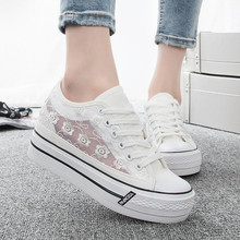 New Summer Women Shoes White 2016 Breathable Lace Hollow Canvas Shoes Women Casual Shoe Thick Heel Zapatos(China (Mainland))