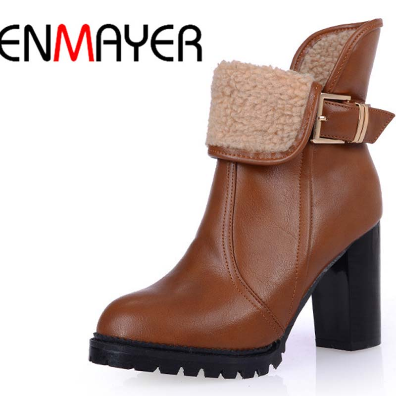 ENMAYER Women Boots Big Size34-43 Round Toe Fashion Square heel High Boots Red black Platform Zip Ankle Boots Shoes Women <br><br>Aliexpress