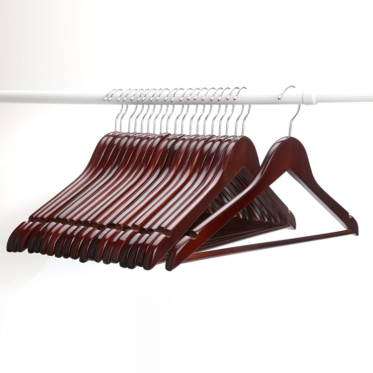 Hangerworld Multifunctional High Grade Solid Wooden Suit Hangers, Coat Hangers, Walnut Finish (12 pieces/ lot)(China (Mainland))
