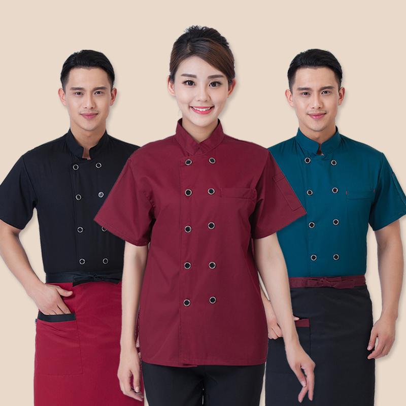 designer chef jacket custom chef uniforms white black cotton High-grade Summer Kitchen Chef Jacket Uniforms Short Sleeve(China (Mainland))