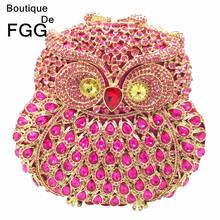 Bling Bling Women's Owl Pink Crystal Evening Wedding Party Cocktail Clutch Handbags Purse Hardcase Diamond Metal Clutches Bags(China (Mainland))