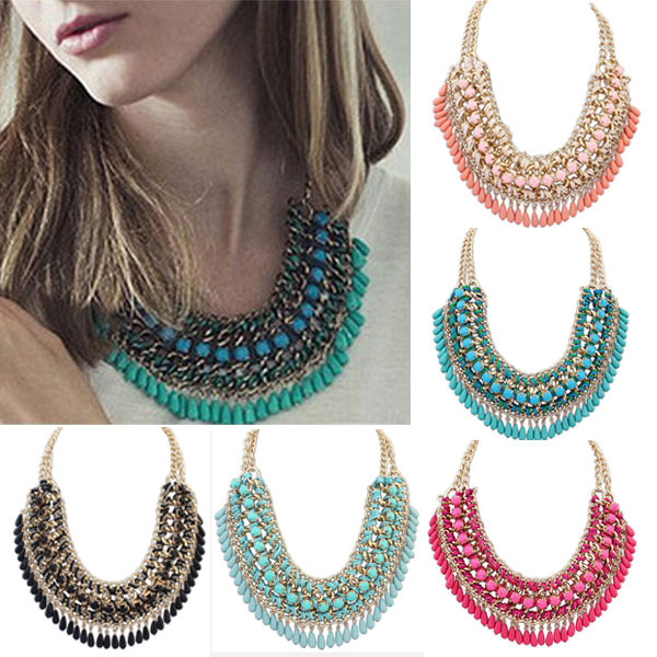 Fashion Jewelry Bohemian Tassels Fringe Drop Vintage Weave Multilayer Collar Necklace Choker Chain Statement Necklace & Pendants(China (Mainland))