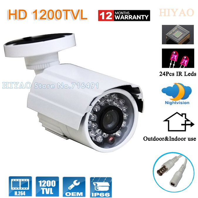 Free shipping 1200TVL CMOS 960H 24pcs IR leds Day/night waterproof indoor / outdoor CCTV camera with bracket