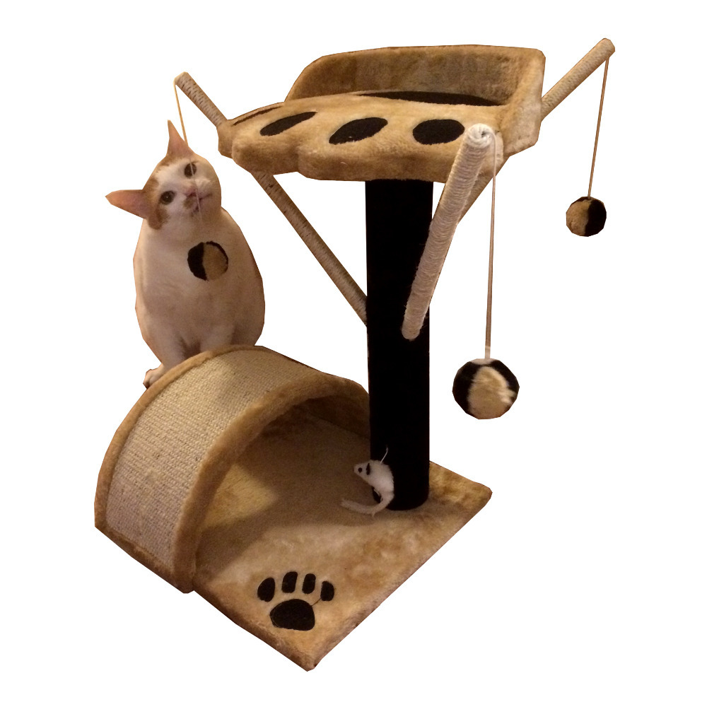 Cat Tree Pet Condo Furniture Scratcher Post Pole Toy Bed KittenTower House Beige(China (Mainland))