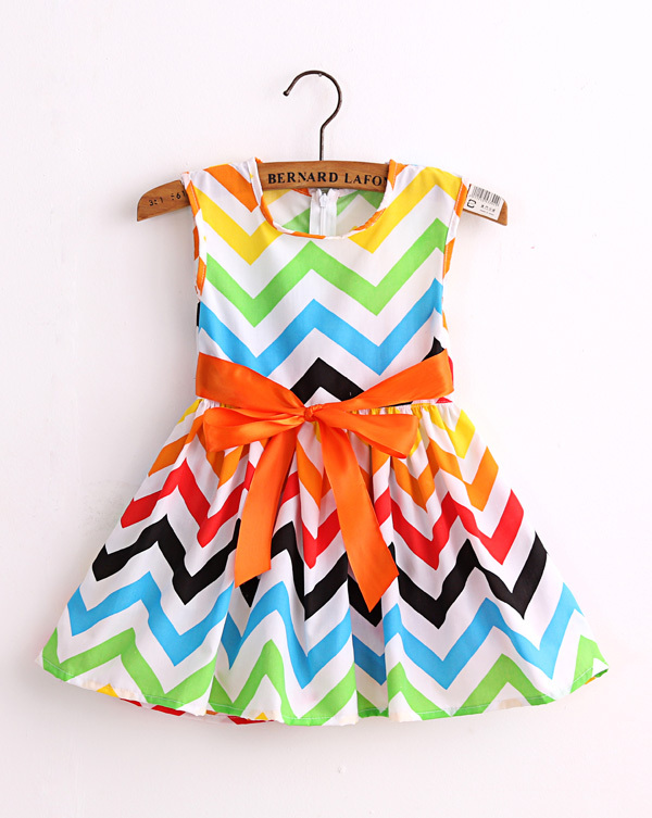 AliExpress.com Product - chervon print girl dress cotton baby girls princess dresses vestidos kids dress QZ141241