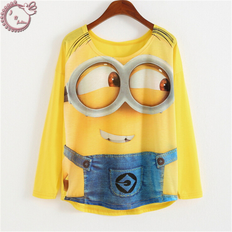 2016 long sleeve tops casual tees loose woman t shirt cartoon big eyes Minions 3D Print