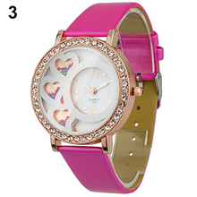 De la mujer moda ronda Dial vestido reloj analógico con cristales y perlas decoración Rhinestone rosa de Color 13SN
