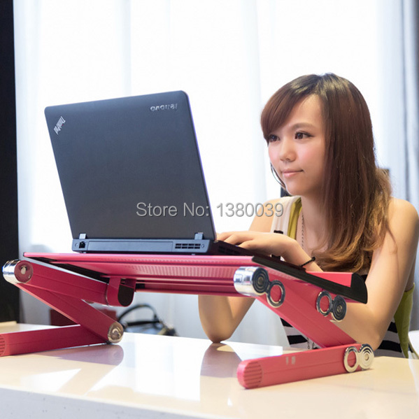 Ergonomic design folding style adjustable notebook table with mouse pad pink color for bed sofa home(China (Mainland))