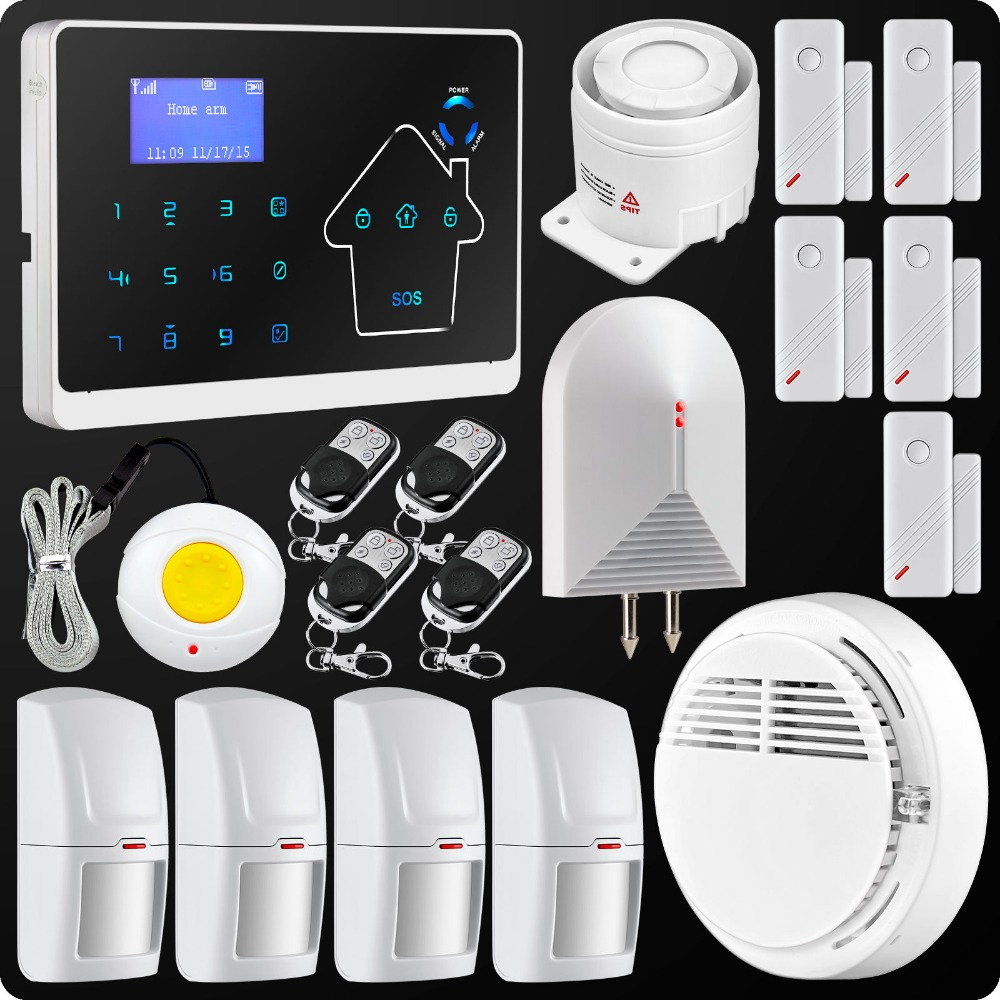 M2 Dual Network GSM PSTN Wireless Wired Home Burglar Autodial Alarm System Panic Button+Touch Keypad M2 Water Leakage Detector(China (Mainland))