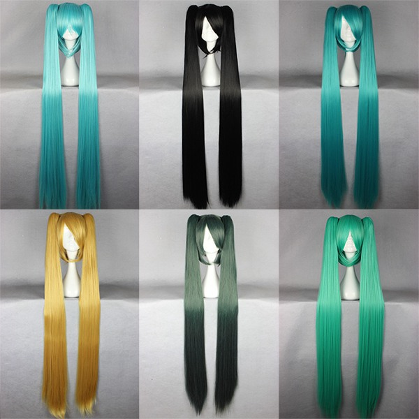 MCOSER Long Straight Synthetic Wigs 130cm Vocaloid Hatsune Miku Show Ponytails Blue Green Cosplay Wig Multi Color(China (Mainland))