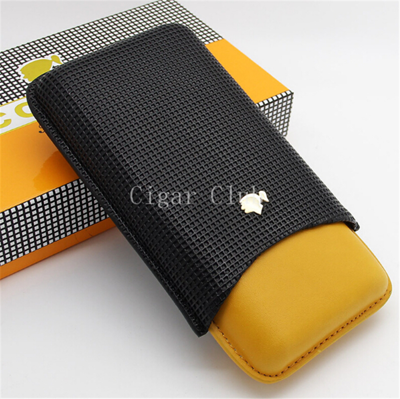 COHIBA MINI Classical Gadgets Travel Embossed Leather Cigar Case Holder 3 Finger with Classical Gift Box(China (Mainland))
