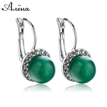 Jewelry Green CZ EarringsSilver Plated Jade Stone Rhinestone Earrings For Women Austrian Crystal Dangle Ball CZ Earrings(China (Mainland))