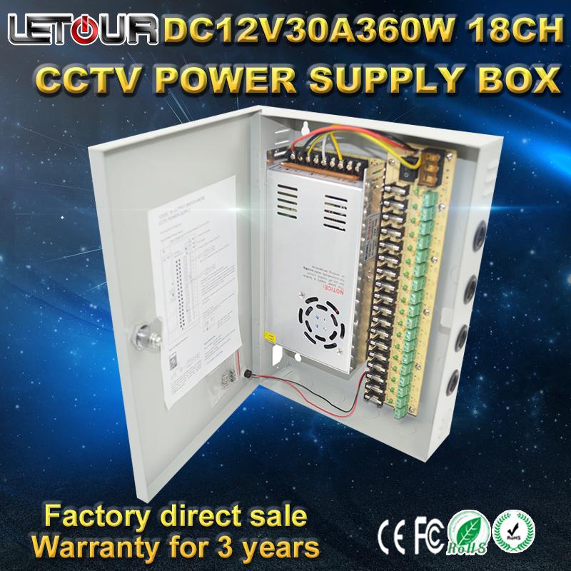 DHL Freeshipping 18CH DC 12V 30A 360W CCTV Power Supply 12V Monitor Power Box Lightning Protection for DVR LED Strip(China (Mainland))