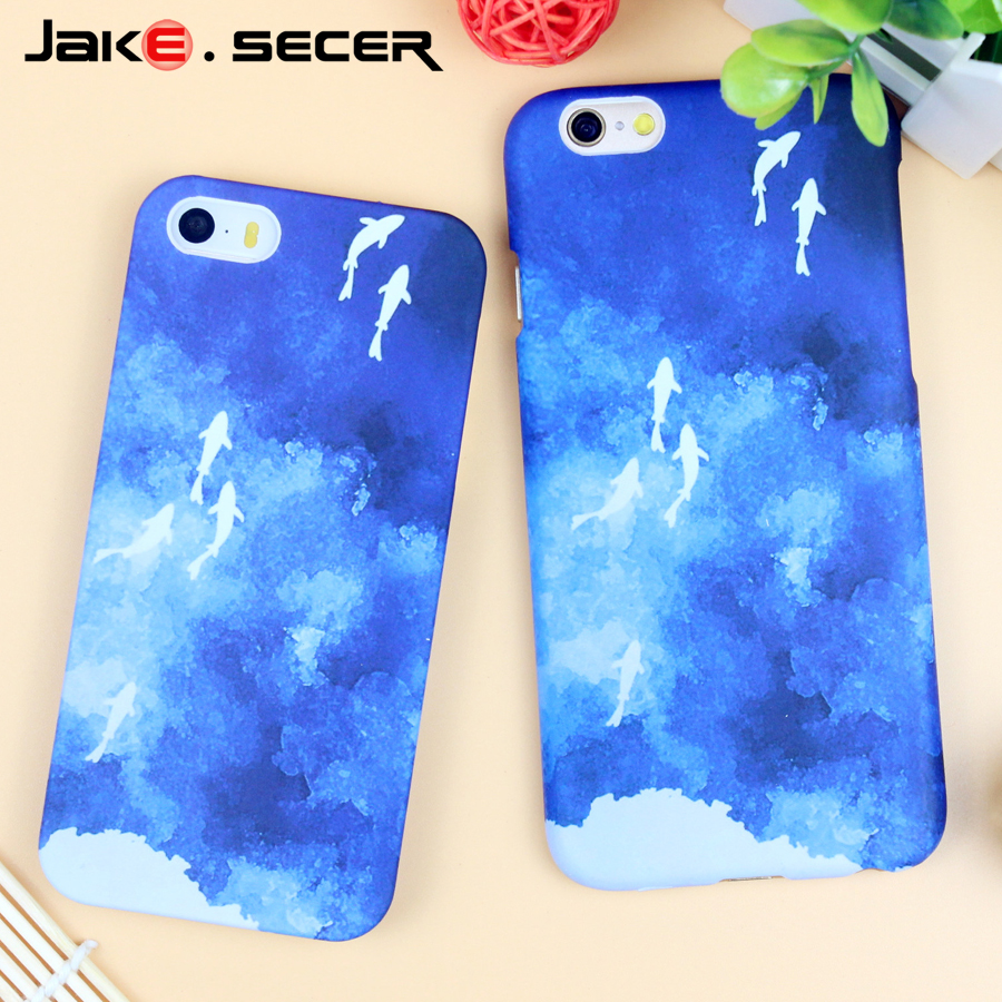 Popular Cases for iphone 5 s SE 6 s 6s 6 plus Cell Phone Accessories Coque Fundas Capa for Apple iphone 6s 6 Blue Plastic Cover(China (Mainland))