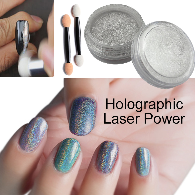 1g/Box Holographic Laser Powder Silver Glitters Nail Rainbow Sequins Nail Paillettes Hologram Nail Sparkle Glitter Art(China (Mainland))