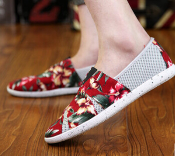 Male JK Canvas mesh shoes sneakers cotton-made Color cloth floral turn shoe boys skate boarding casual Harajuku rock punk shoes(China (Mainland))
