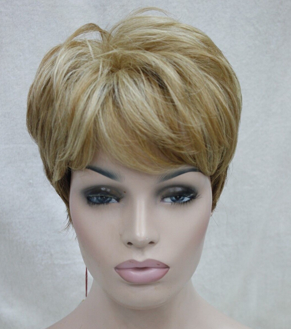 0000120 High quality synthetic heat ok golden blonde to brown ombre short straight wig