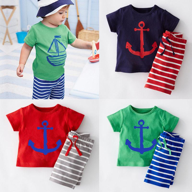 2015 Casual Boys Clothing Summer Boys Clothes Sport Suits T Shirt+Pants Corsair Cartoon Kids Clothing Set Roupas Infantis Menino(China (Mainland))
