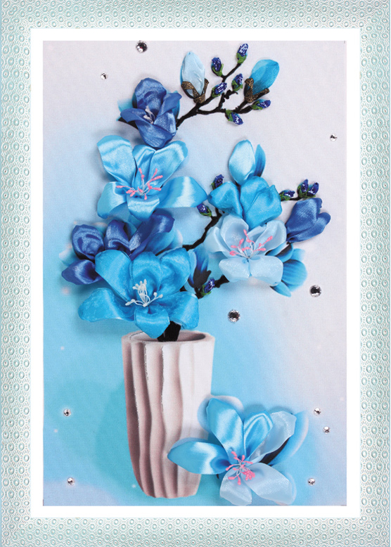 Ribbon embroidery room flower paintings Qi Fei Xian shadow cross stitch 3D painting printing products(China (Mainland))