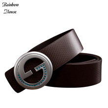 Buy New 2017 Mens Brand Leather Belts Fashion Smooth Buckle Mans Luxury Belts Casual Split Leather Male Belts for $8.67 in AliExpress store