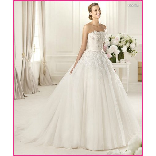 Free shipping hand work flower lace embroidered tulle full A-line Bridal Gowns, Wedding Dresses Spring 2013 dogma(China (Mainland))