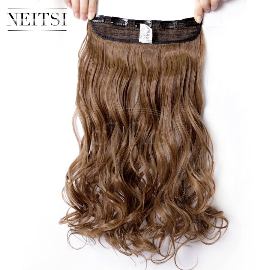 """Neitsi 1PC 107g 22"""" M6P# Color 5Clips Kanekalon Ombre Synthetic Braiding Hairpieces Clip In Curly Wavy Weave Hair Extensions(China (Mainland))"""