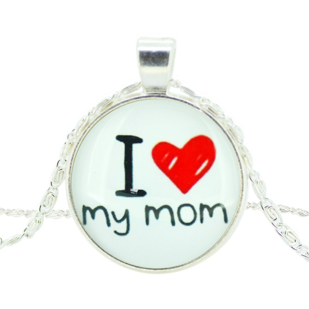 i love my mom art picture statement chain necklace