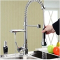 Chorme Pull Out Double Swivel Spout Spring Kitchen Mixer Tap Faucet Deck Mount