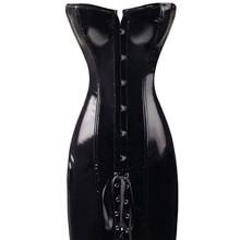 6XL Sexy push bra shape body slim Bustiers pvc Leather catsuit dress Overbust Corsets Latex Catsuit Lingerie corset plus size