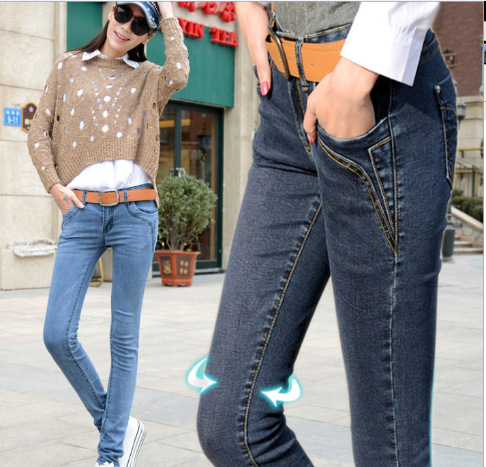 2015 New Autumn Women Pencil Pants Button Fake-Zippers Washed Vintage Denim Full Length Jeans High Quality HD08(China (Mainland))