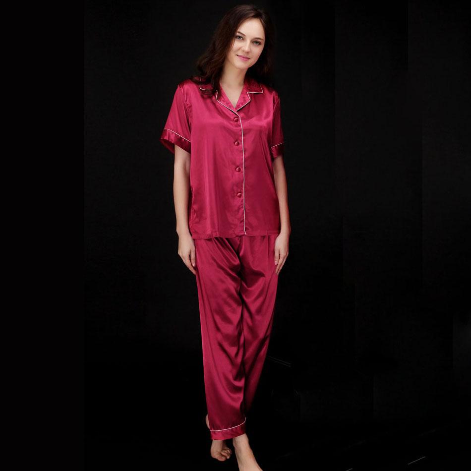 Women 2016 Summer Pajamas Set Home Sleep Lounge Short Sleeve Long Pant Silk Wear Lady Pyjamas Nightwear Pijamas Sleepwear Set(China (Mainland))