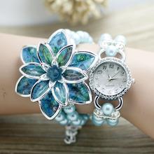 Novas Mulheres moda Rhinestone Relógios Senhoras pulseira de pérolas Muitas pétalas de flor pulseira de quartzo relógios de pulso das mulheres vestido relógios