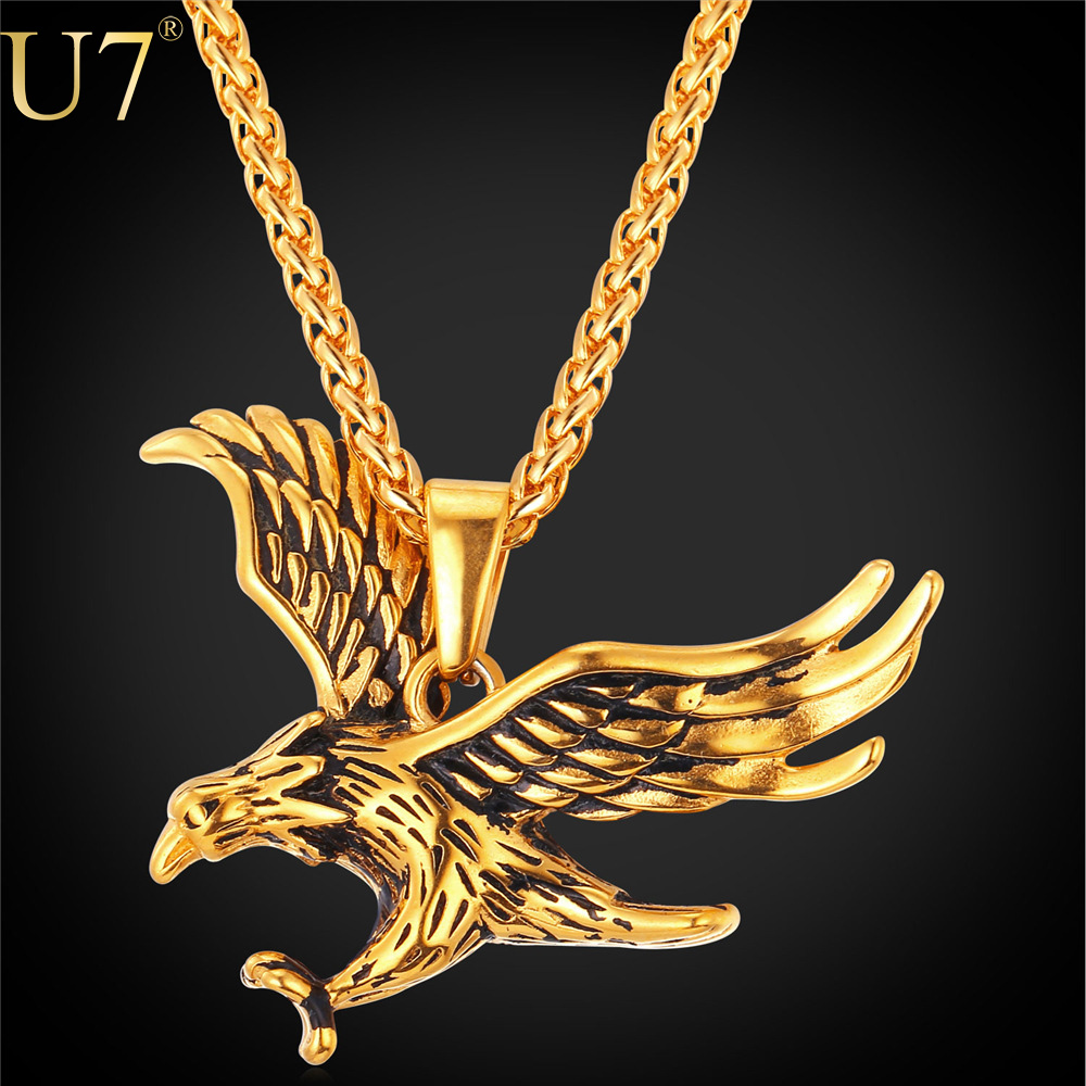 U7 2016 Gold Eagle Necklace Men Jewelry Statement Gold Plated Animal Stainless Steel Hawk Charm Pendant Necklace Wholesale P748(China (Mainland))
