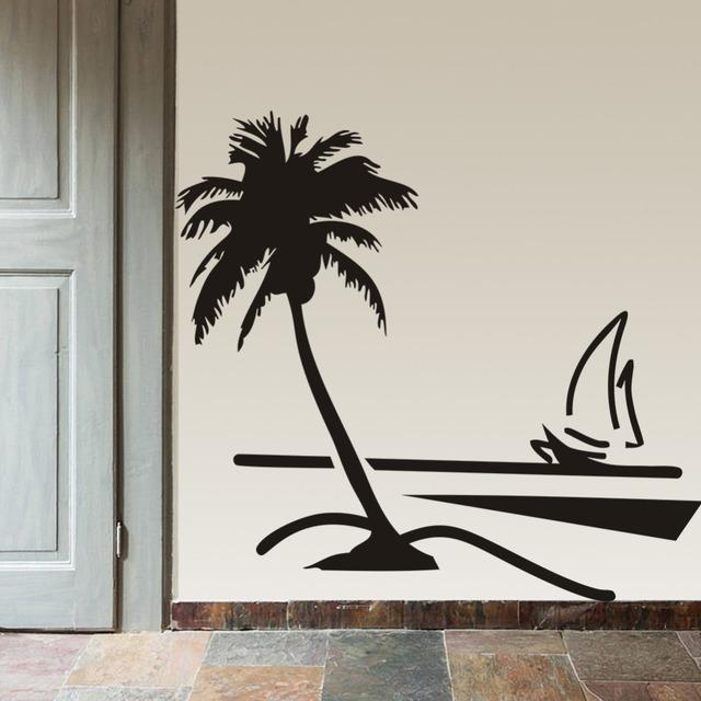Пляж кокосовой пальмы дерево парусник стены искусства ванной комнате со стеклянными современное искусство росписи 8499 домашнего декора большой 3d стены винила стикера этикеты