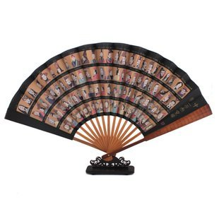 10pcs/lot, spun silk folding hand fan full of chinese culture , Ancient Chinese emperors,bamboo fan for decoration,souvenir,gift