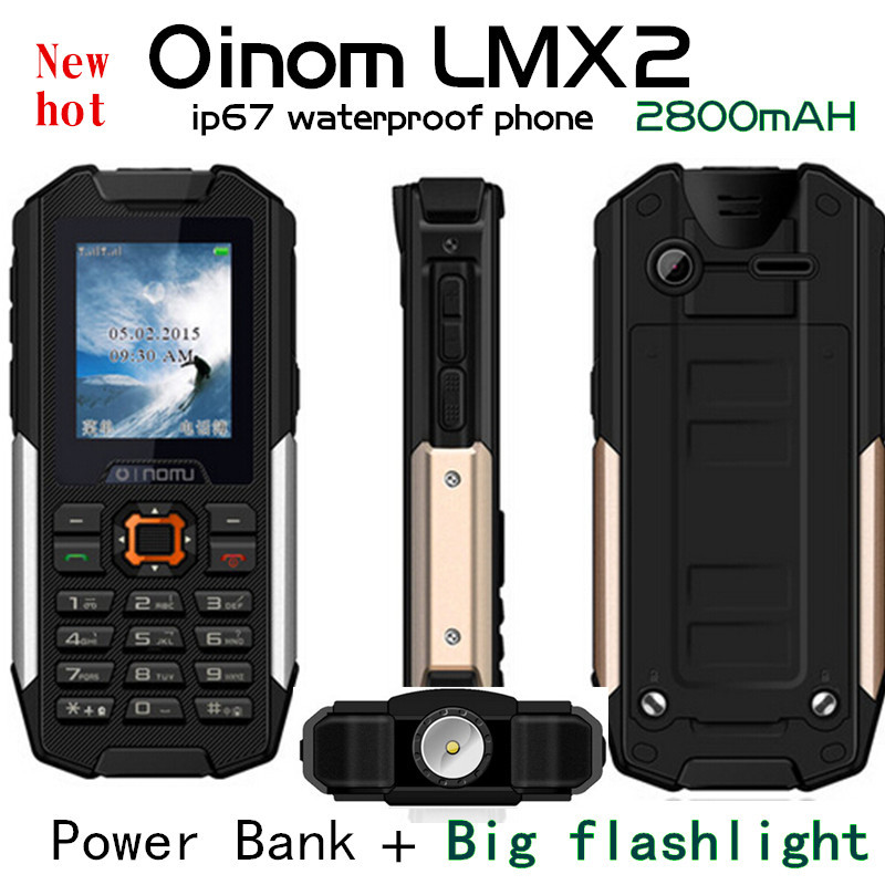 Original IP67 waterproof phone OINOM LMX2 Big LED Flashlight 2800mAH Battery Dual sim Old man People cell phone LM128 ZUG S 1 H1(China (Mainland))