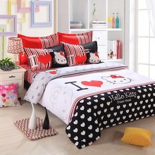 Home Textile Bedclothes 2015 Cartoon Lovely Pattern Hello Kitty 4 PCS Bedding Sets Bed Sheet / Duvet Cover / Pillowcase Bed Sets(China (Mainland))