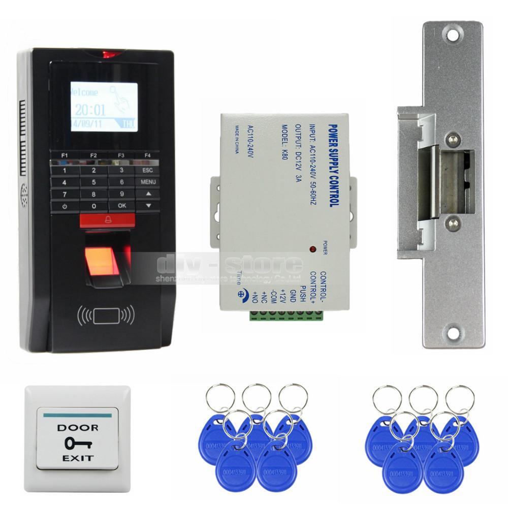 LCD Fingerprint Id Card 125KHz RFID Reader Password Keypad Door Access Control System Kit Strike Lock For Office / House(China (Mainland))